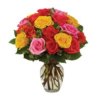 Assorted roses, bright flower arrangements for sale at Ingallina's Gifts